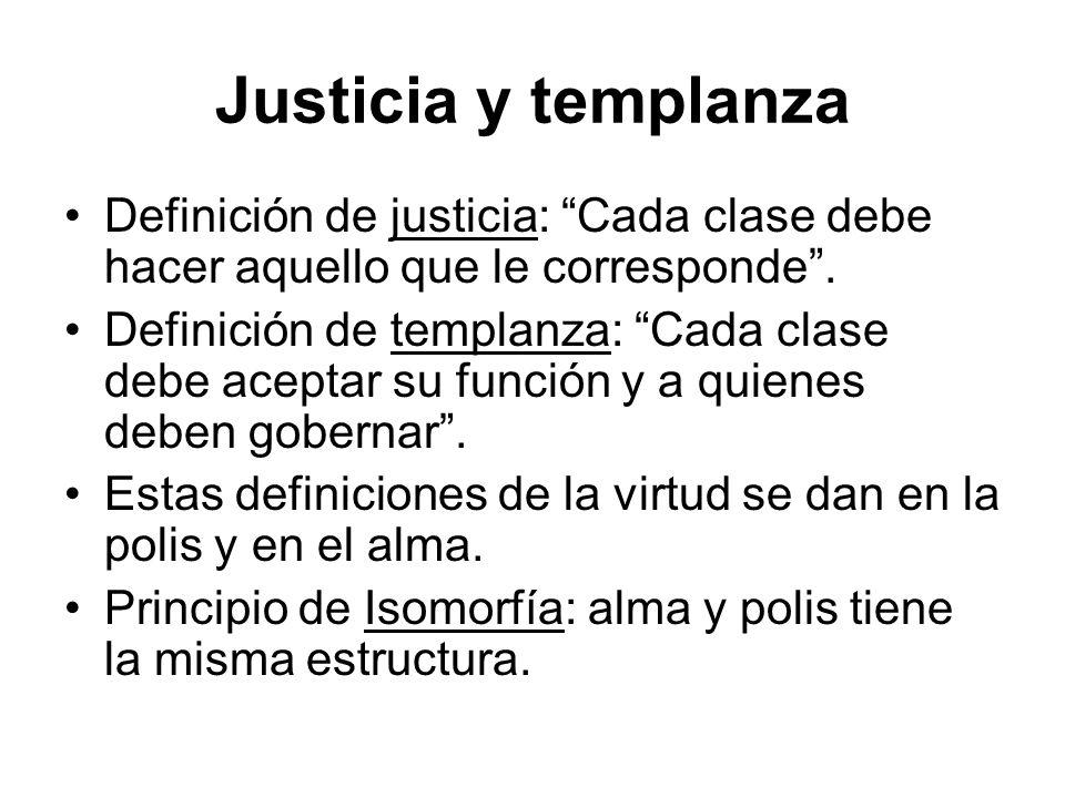 Justicia y templanza Definición de justicia: Cada clase debe hacer aquello que le corresponde .