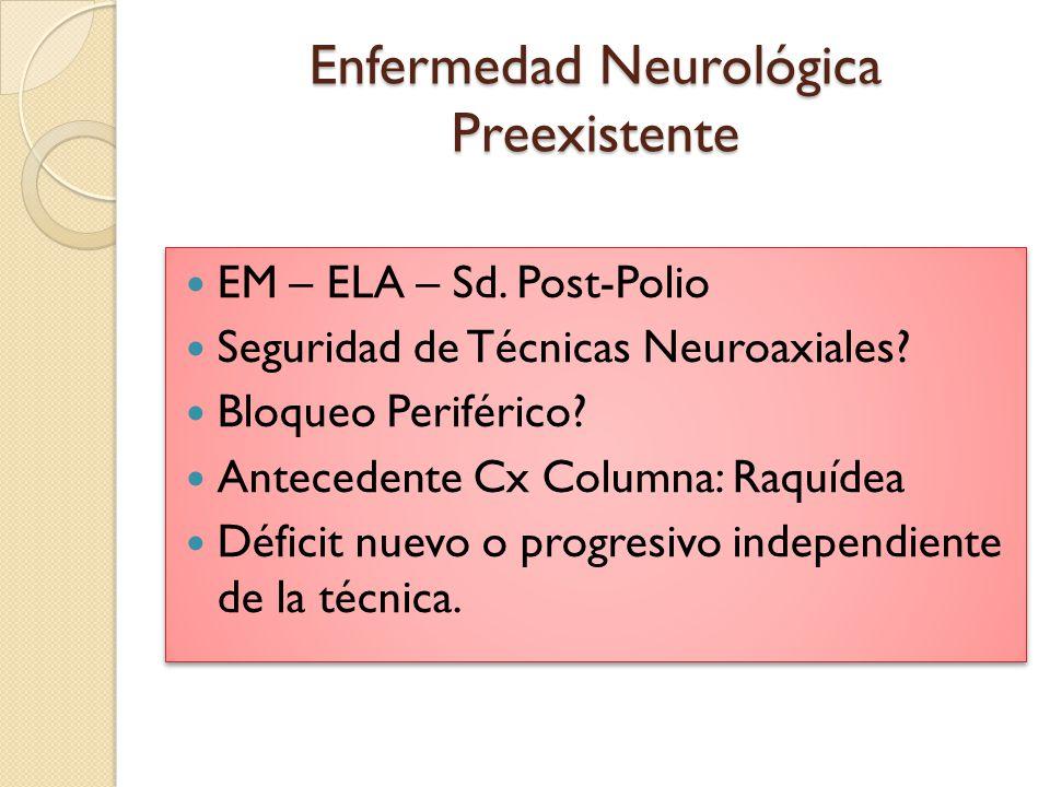 Enfermedad Neurológica Preexistente