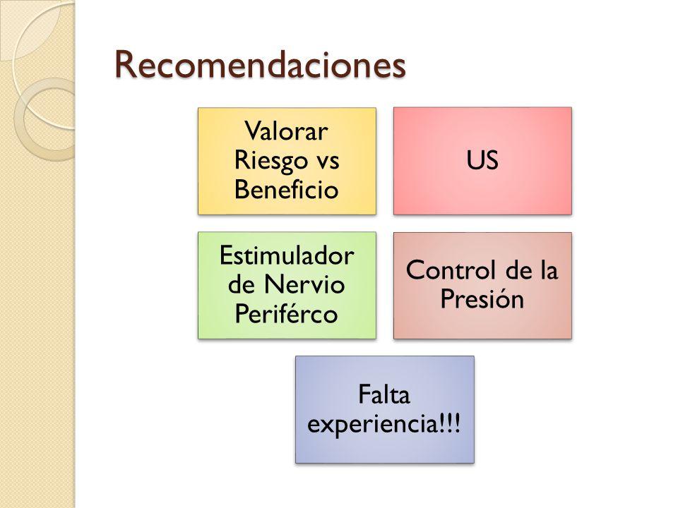 Recomendaciones Valorar Riesgo vs Beneficio US