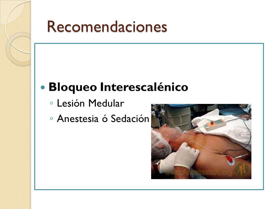 Recomendaciones Bloqueo Interescalénico Lesión Medular
