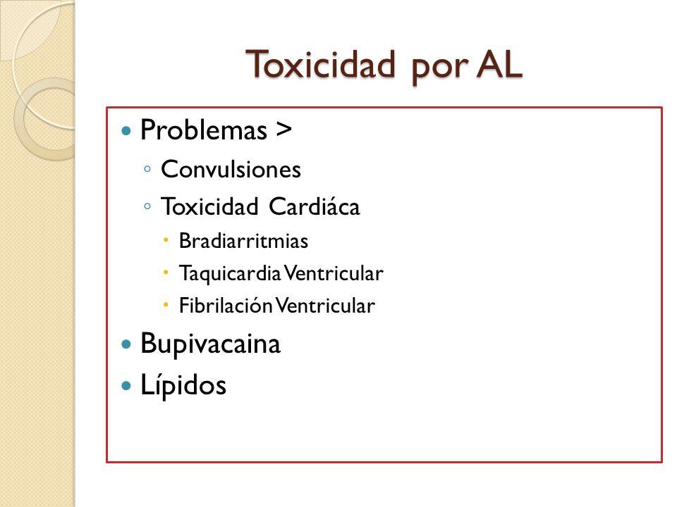 Toxicidad por AL Problemas > Bupivacaina Lípidos Convulsiones