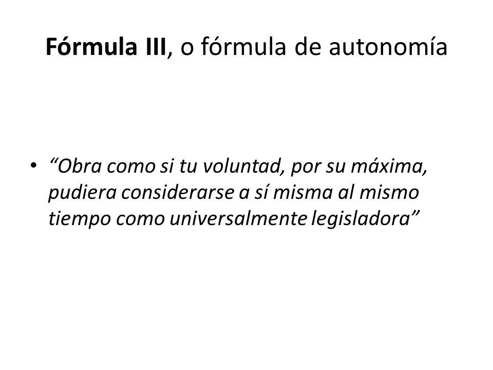 Fórmula III, o fórmula de autonomía