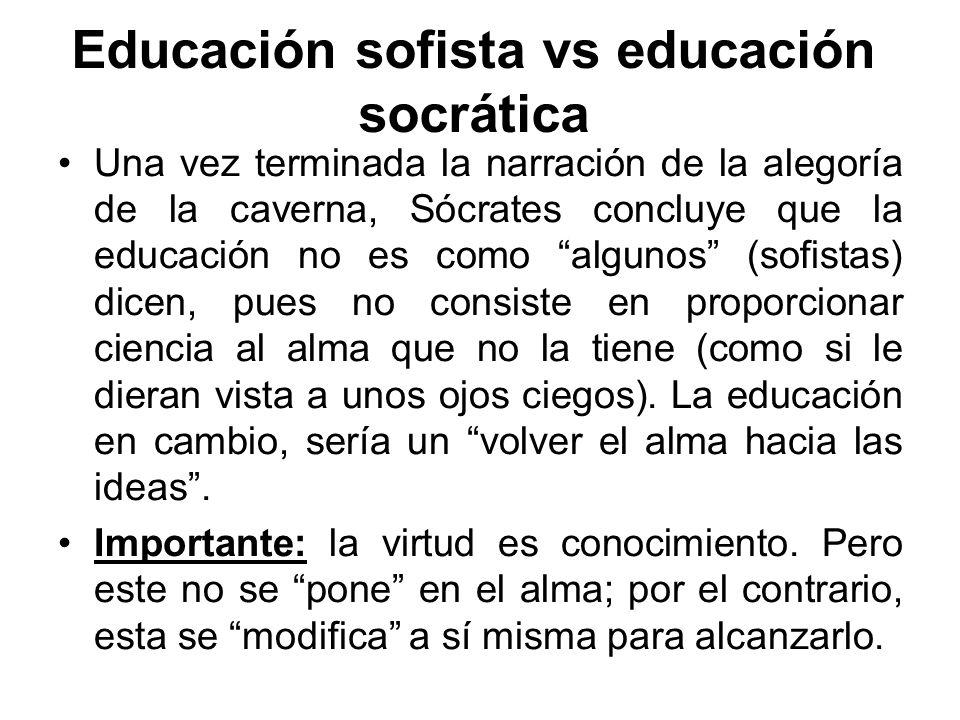 Educación sofista vs educación socrática