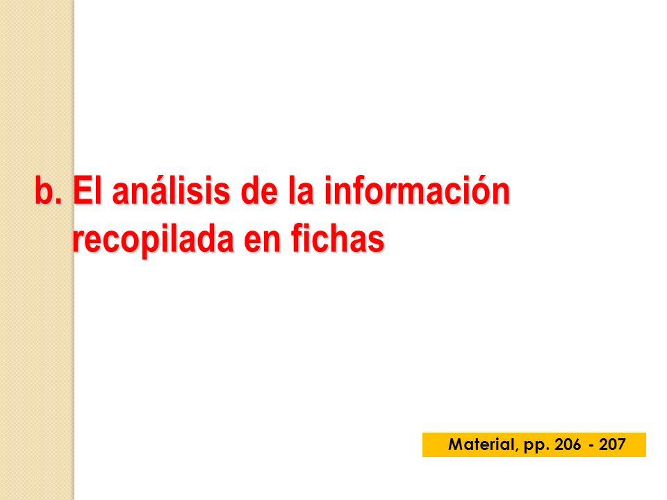 b. El análisis de la información recopilada en fichas