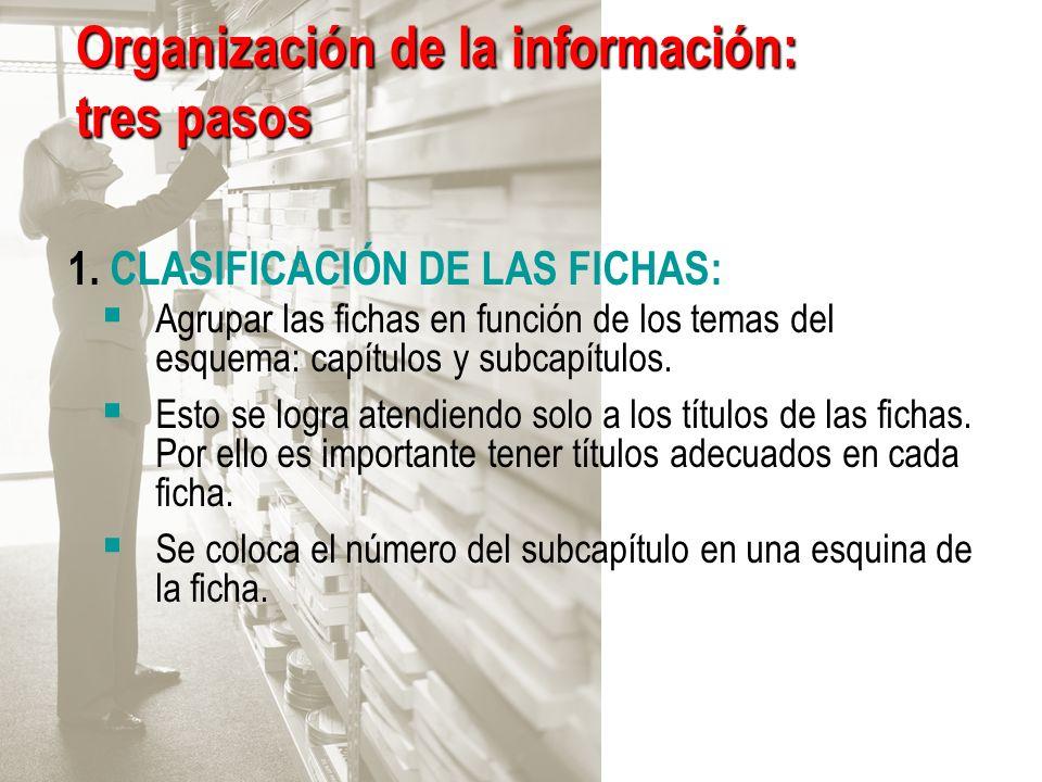 Organización de la información: tres pasos