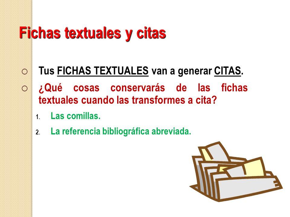 Fichas textuales y citas