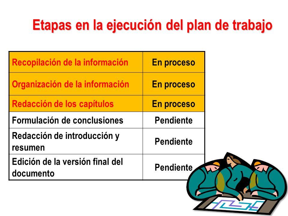 Etapas en la ejecución del plan de trabajo