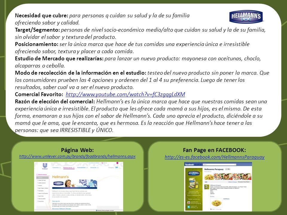 Página Web: Fan Page en FACEBOOK: