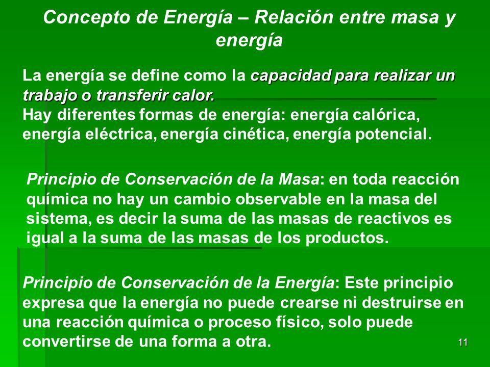 Concepto de Energía – Relación entre masa y energía