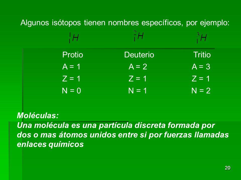 Algunos isótopos tienen nombres específicos, por ejemplo: