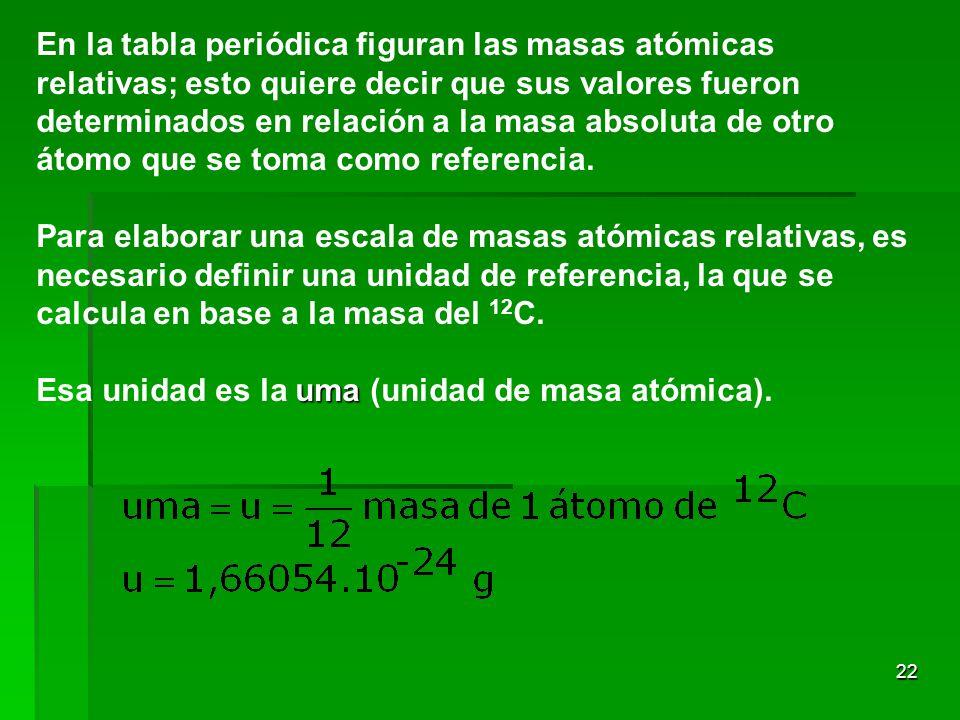 En la tabla periódica figuran las masas atómicas relativas; esto quiere decir que sus valores fueron determinados en relación a la masa absoluta de otro átomo que se toma como referencia.