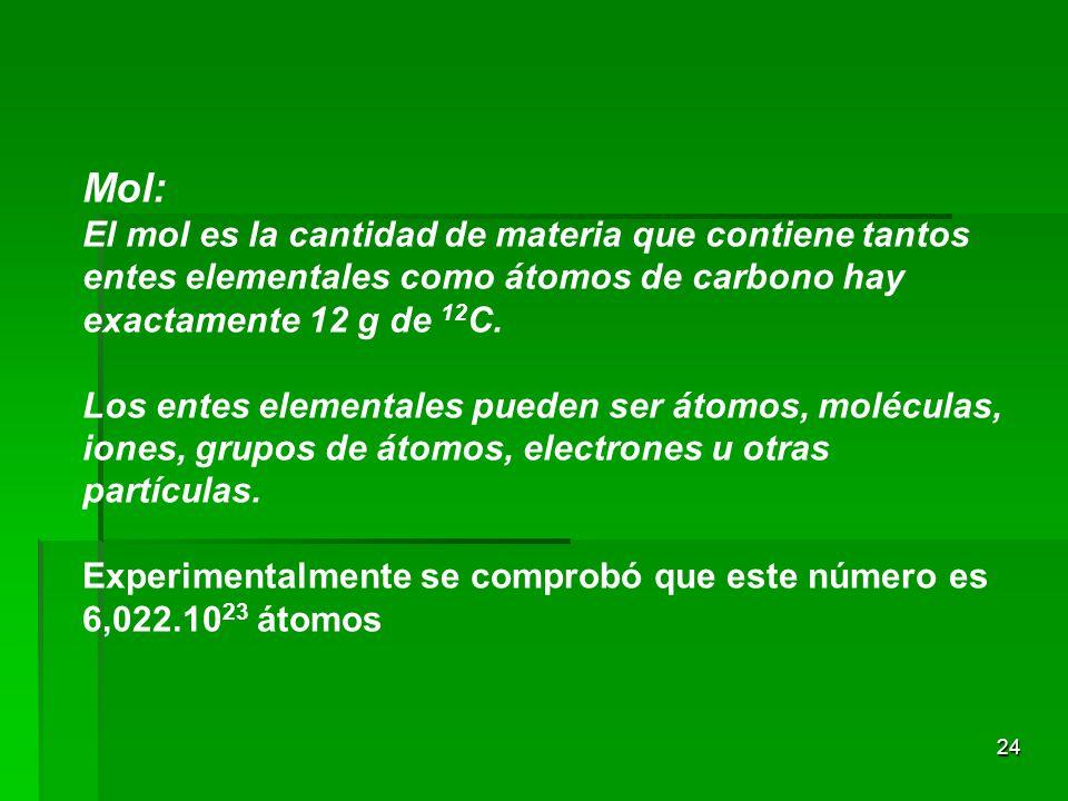 Mol: El mol es la cantidad de materia que contiene tantos entes elementales como átomos de carbono hay exactamente 12 g de 12C.