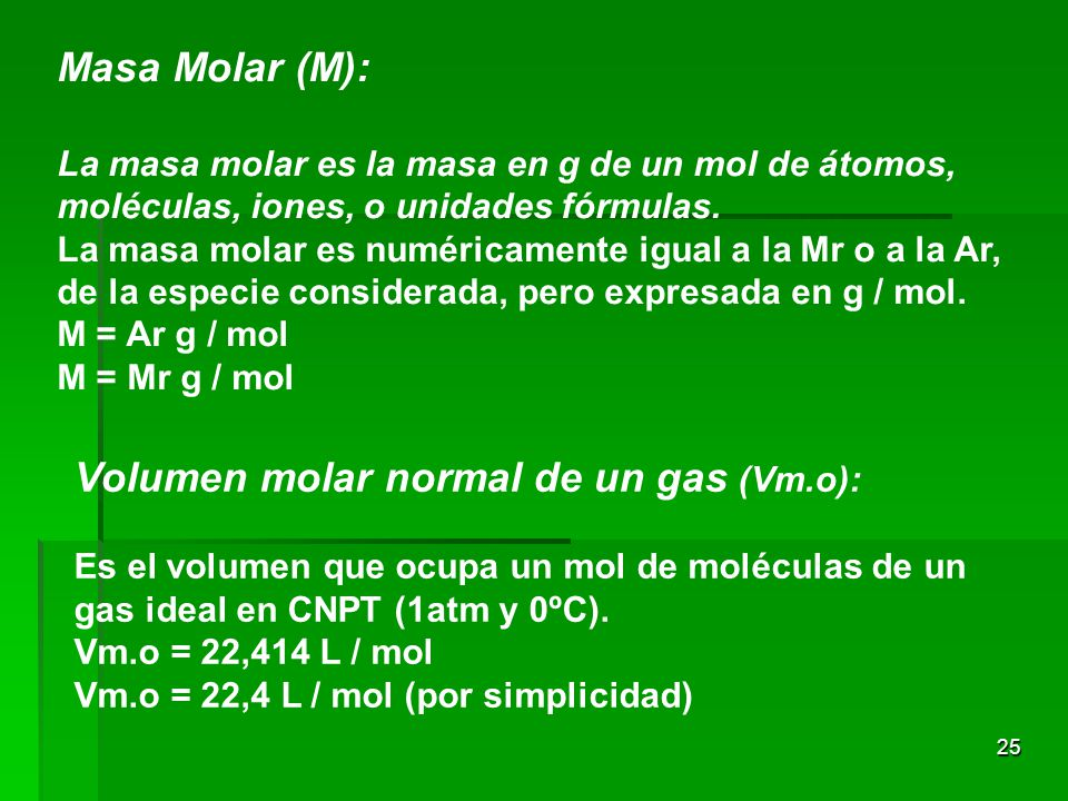 Volumen molar normal de un gas (Vm.o):