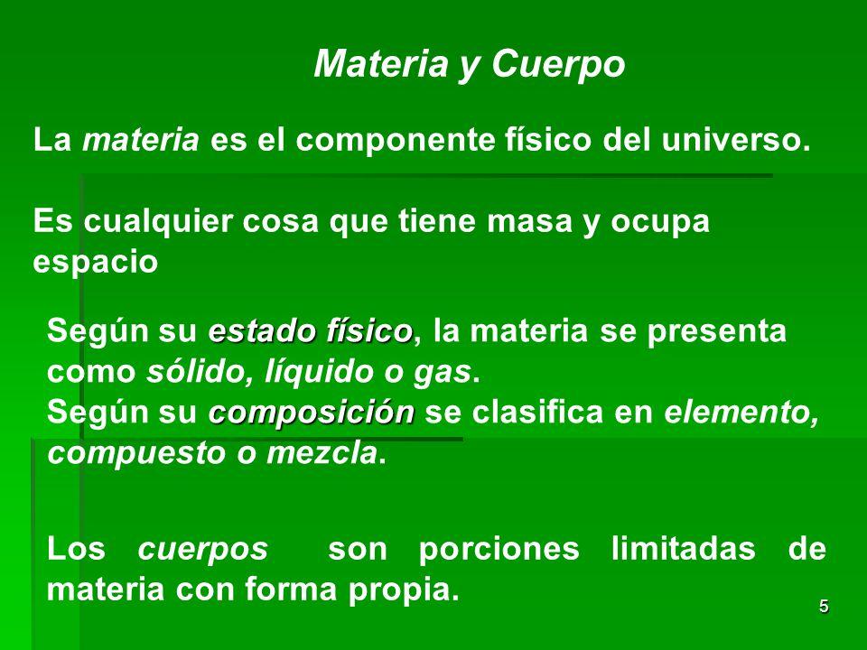 Materia y Cuerpo La materia es el componente físico del universo.