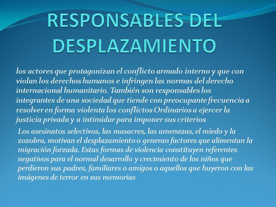 RESPONSABLES DEL DESPLAZAMIENTO