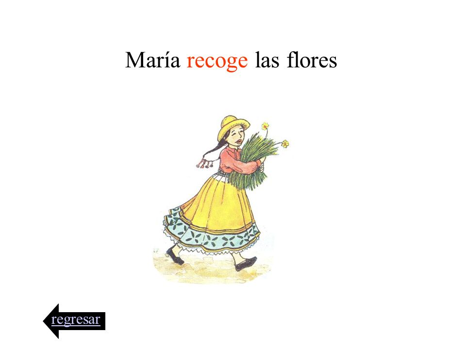 María recoge las flores