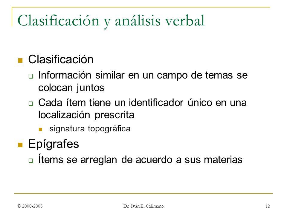 Clasificación y análisis verbal