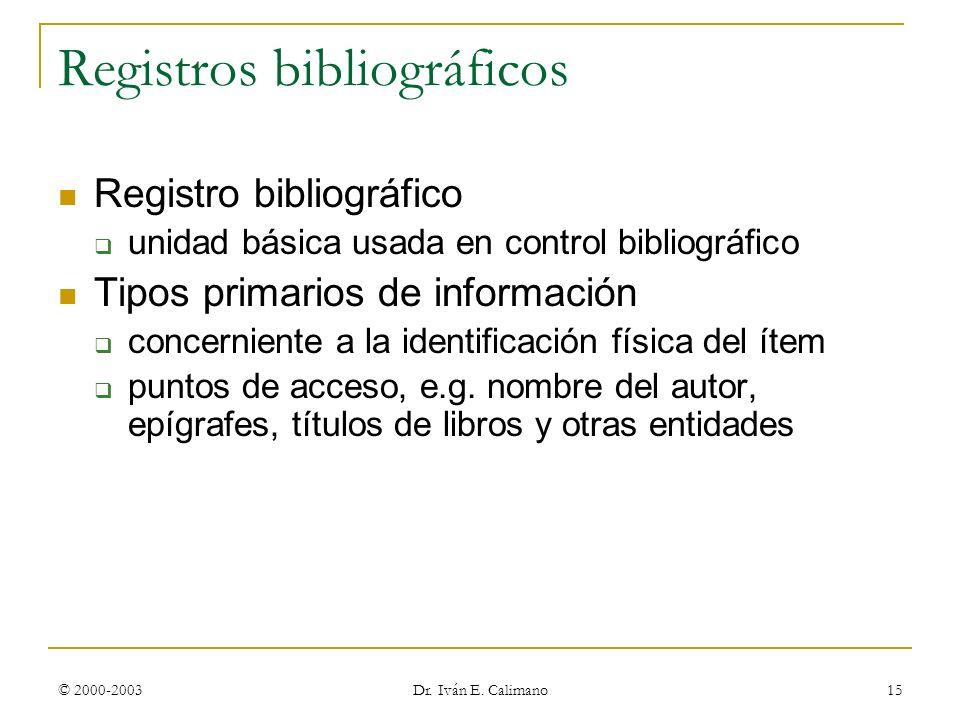 Registros bibliográficos