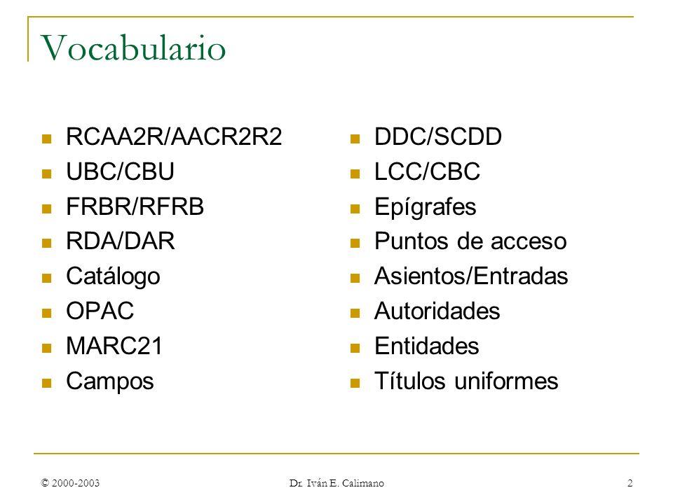Vocabulario RCAA2R/AACR2R2 UBC/CBU FRBR/RFRB RDA/DAR Catálogo OPAC