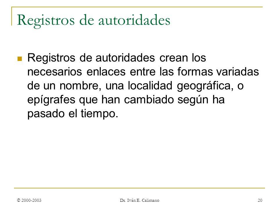Registros de autoridades