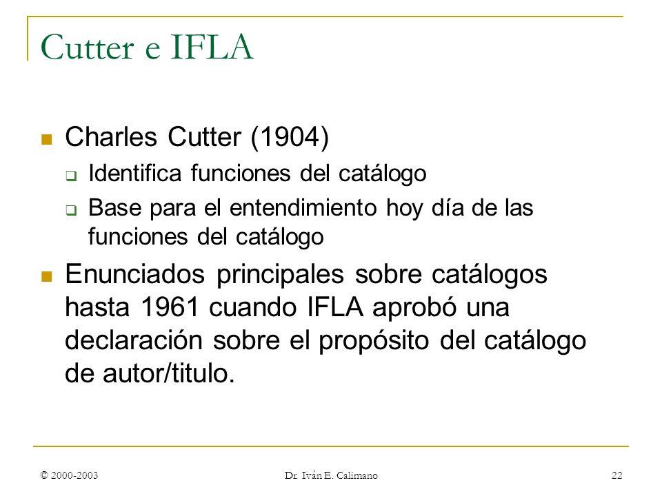Cutter e IFLA Charles Cutter (1904)