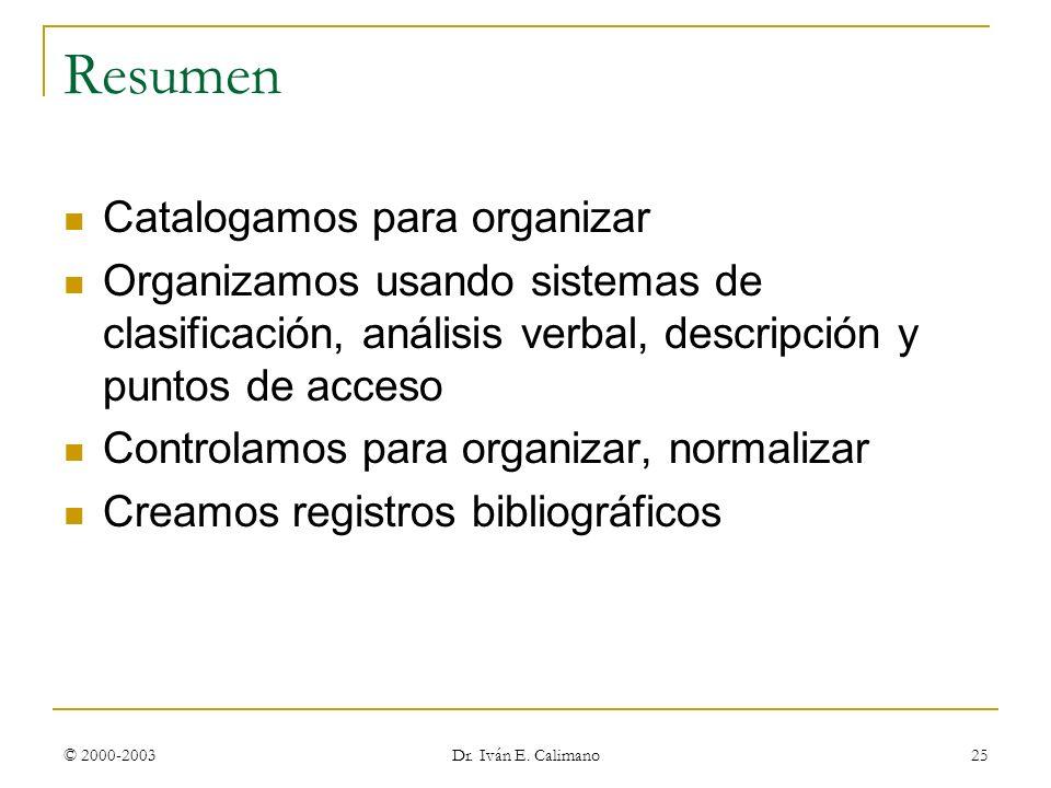 Resumen Catalogamos para organizar