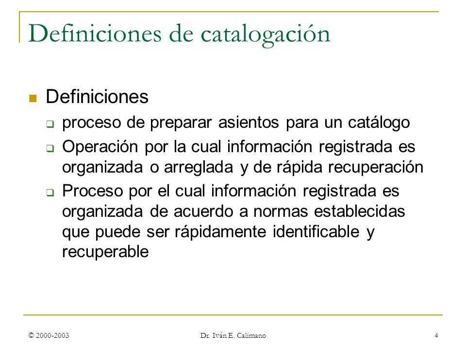 Definiciones de catalogación