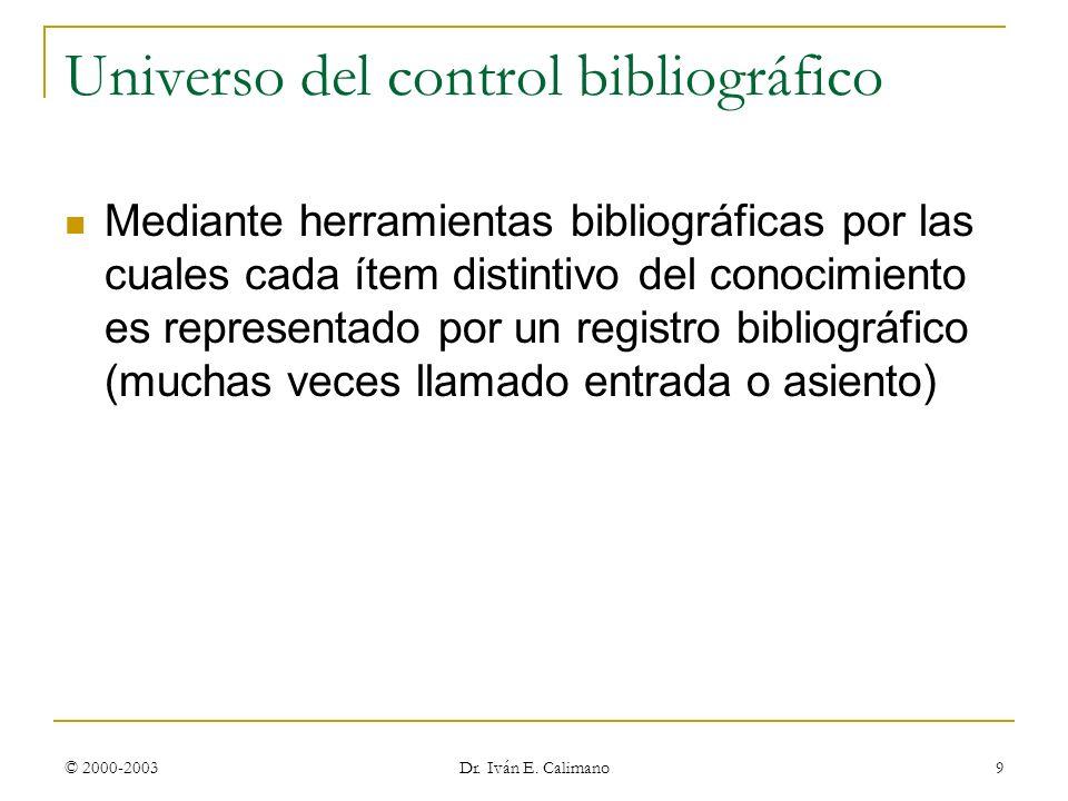 Universo del control bibliográfico