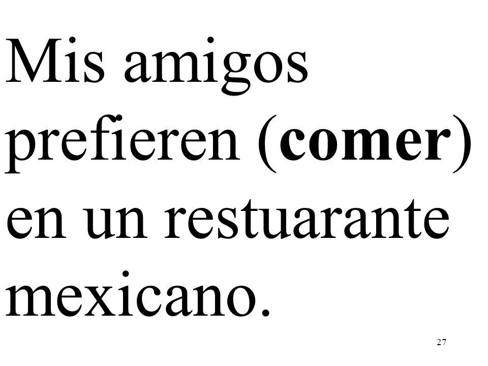 Mis amigos prefieren (comer) en un restuarante mexicano.