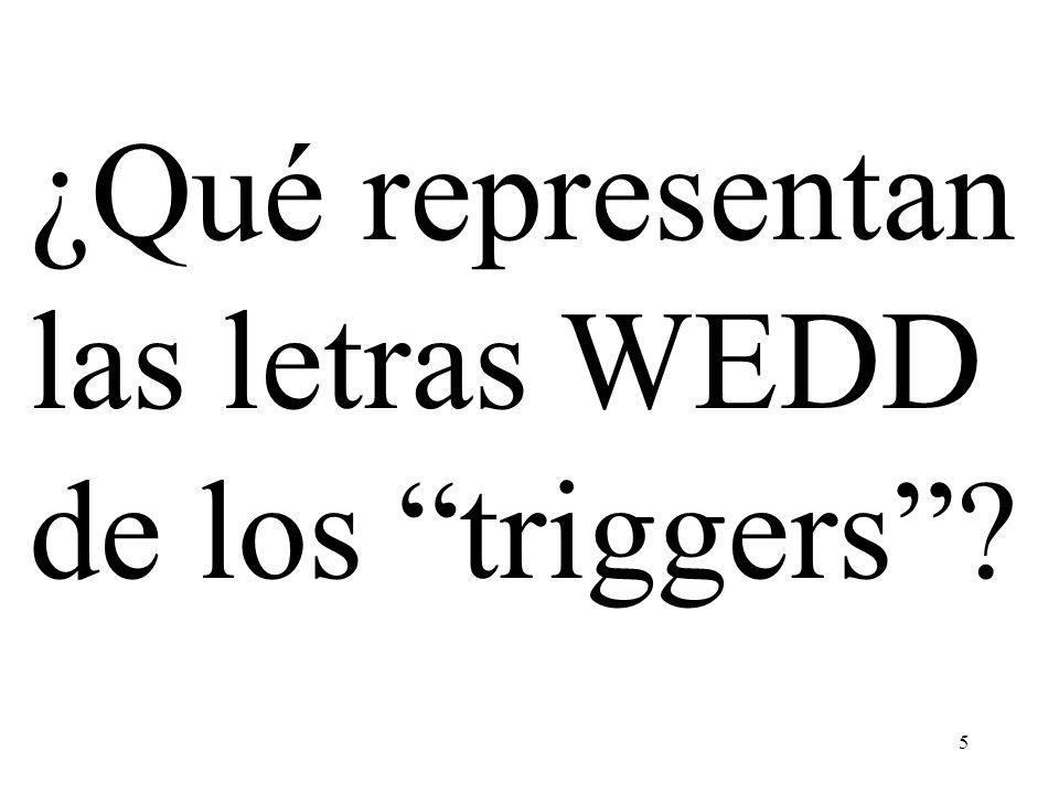 ¿Qué representan las letras WEDD de los triggers