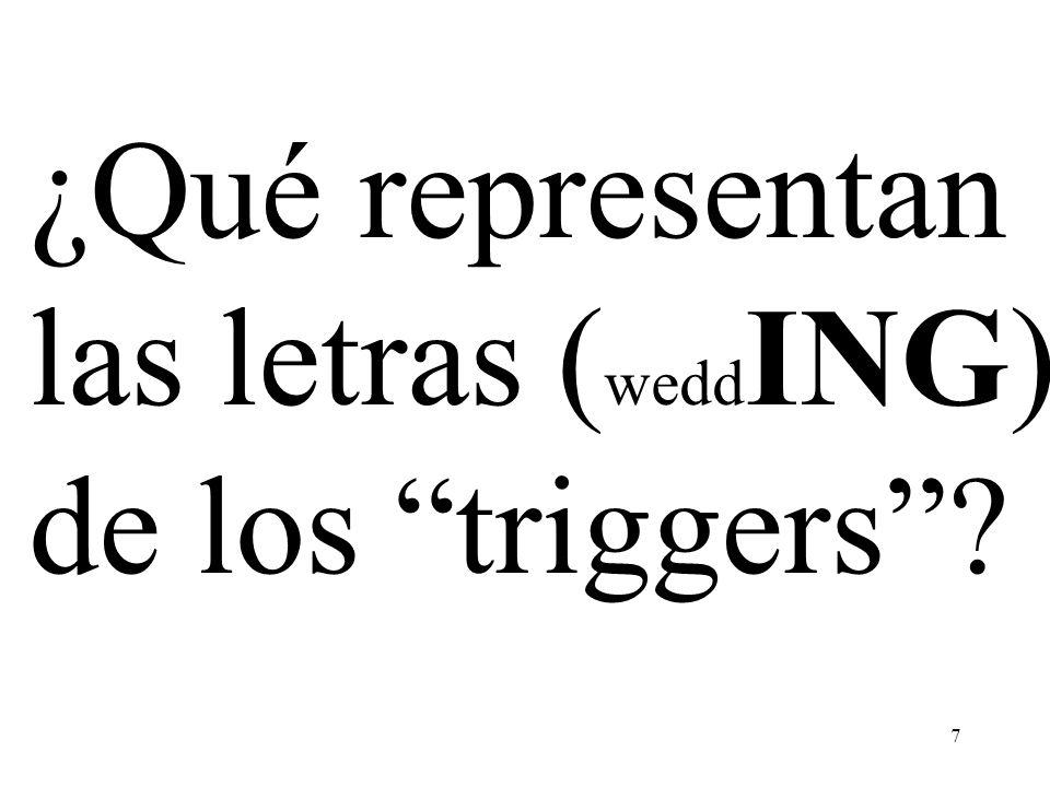 ¿Qué representan las letras (weddING) de los triggers