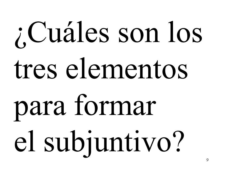 ¿Cuáles son los tres elementos para formar el subjuntivo
