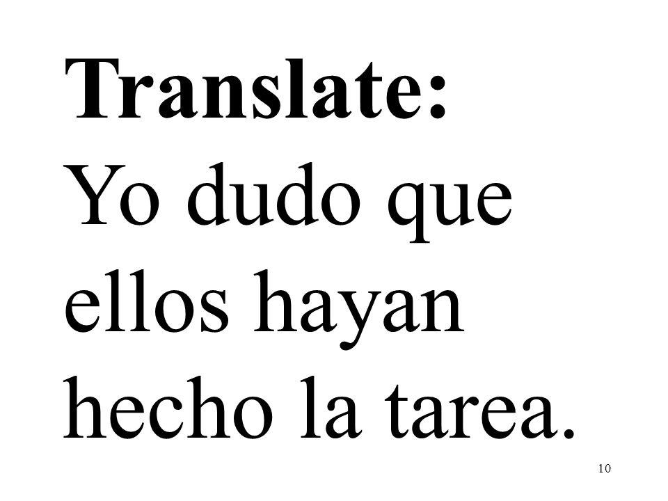 Translate: Yo dudo que ellos hayan hecho la tarea.