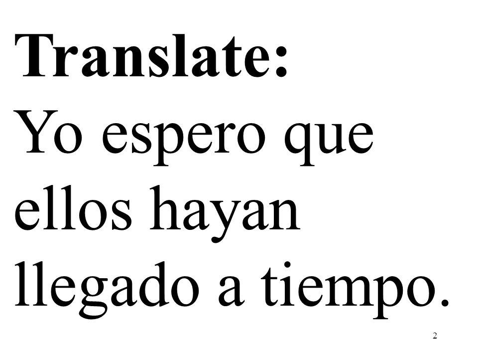 Translate: Yo espero que ellos hayan llegado a tiempo.