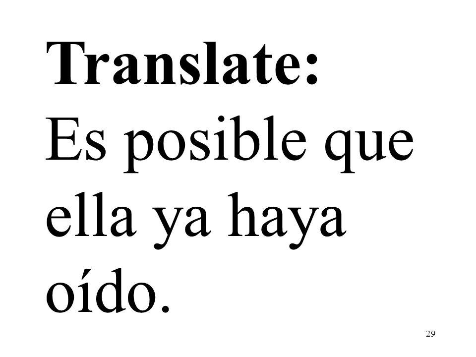 Translate: Es posible que ella ya haya oído.