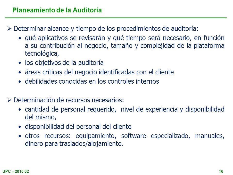 Planeamiento de la Auditoría