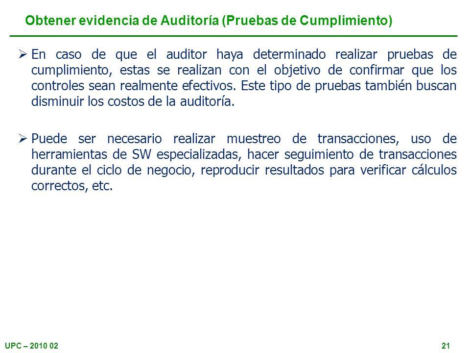 Obtener evidencia de Auditoría (Pruebas de Cumplimiento)