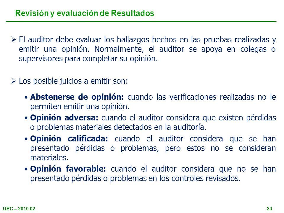 Revisión y evaluación de Resultados