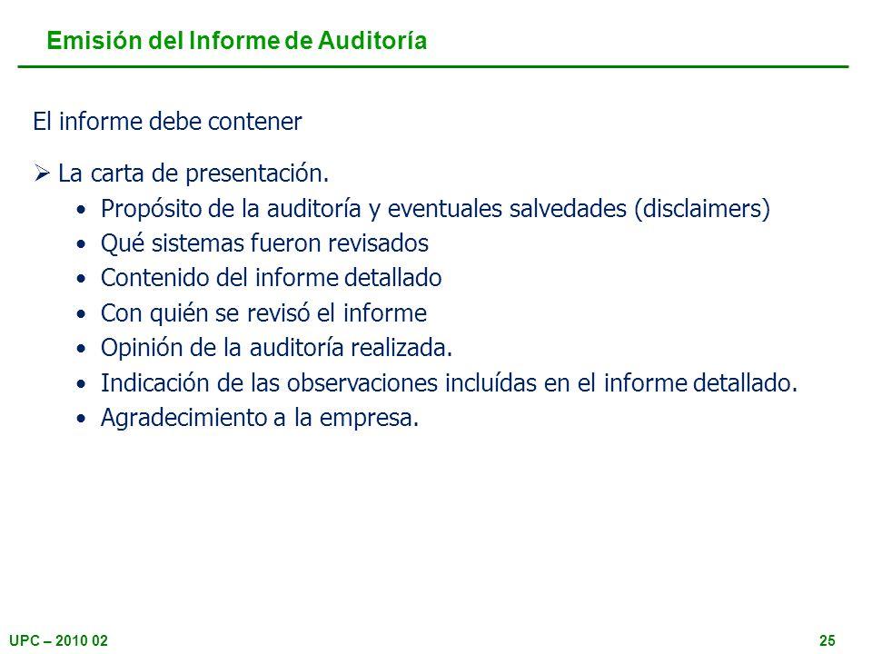 Emisión del Informe de Auditoría