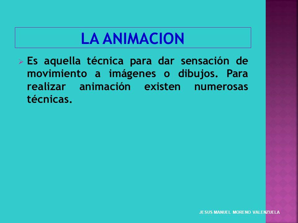 LA ANIMACION Es aquella técnica para dar sensación de movimiento a imágenes o dibujos. Para realizar animación existen numerosas técnicas.