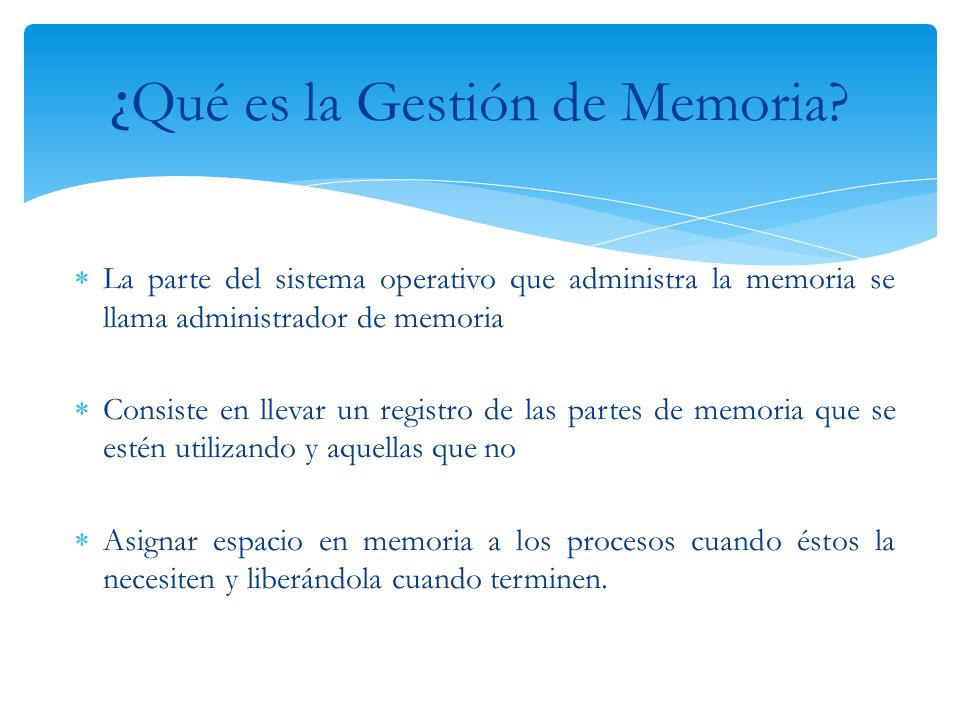 ¿Qué es la Gestión de Memoria