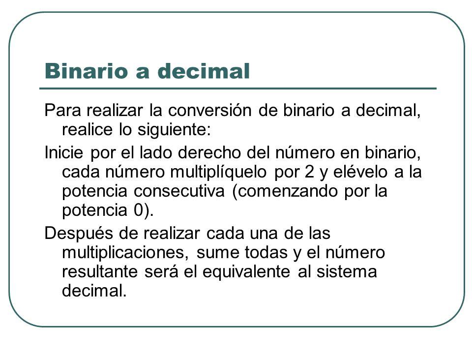 Binario a decimal Para realizar la conversión de binario a decimal, realice lo siguiente: