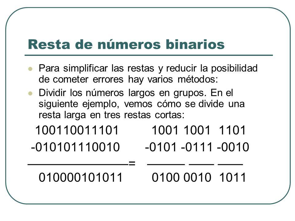 Resta de números binarios