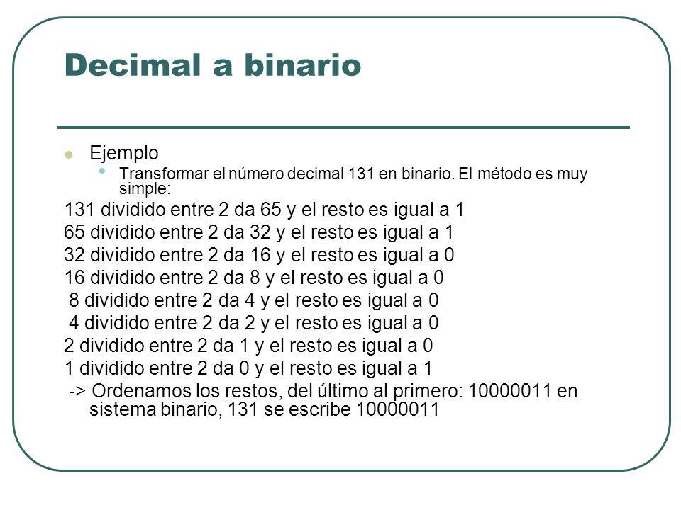 Decimal a binario Ejemplo