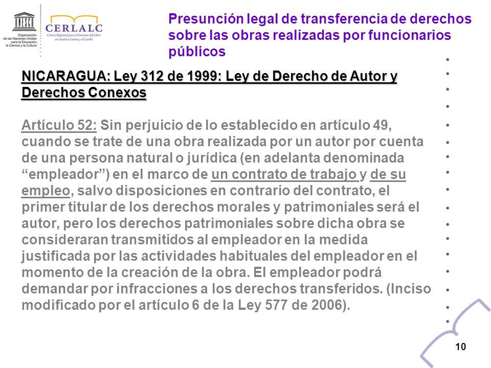 NICARAGUA: Ley 312 de 1999: Ley de Derecho de Autor y Derechos Conexos