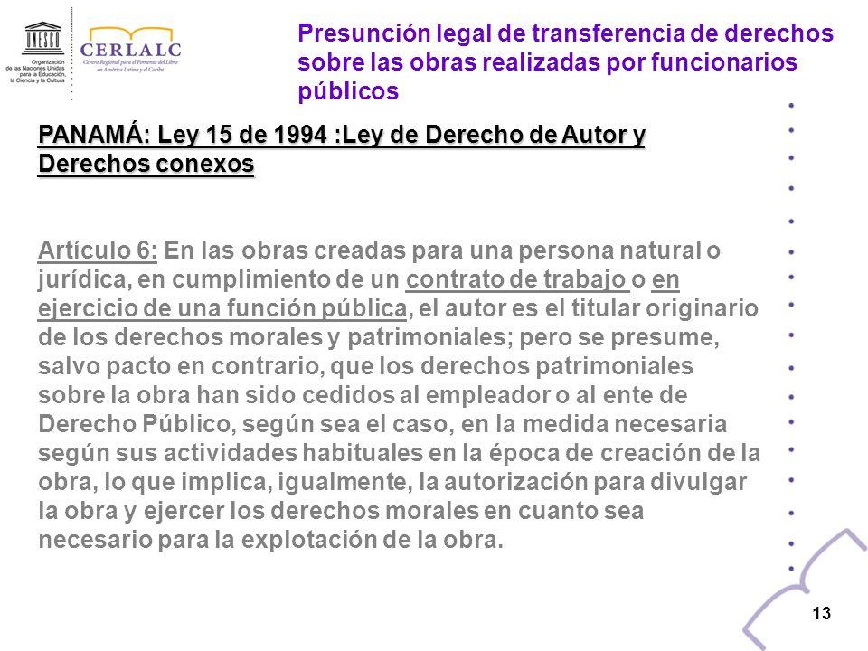 PANAMÁ: Ley 15 de 1994 :Ley de Derecho de Autor y Derechos conexos