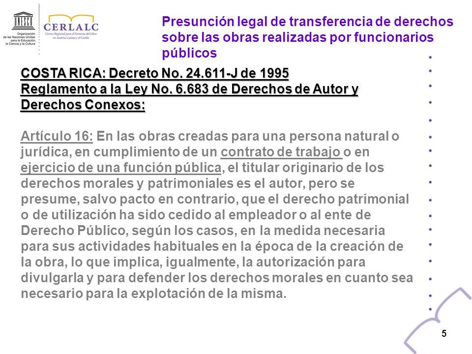 Presunción legal de transferencia de derechos sobre las obras realizadas por funcionarios públicos