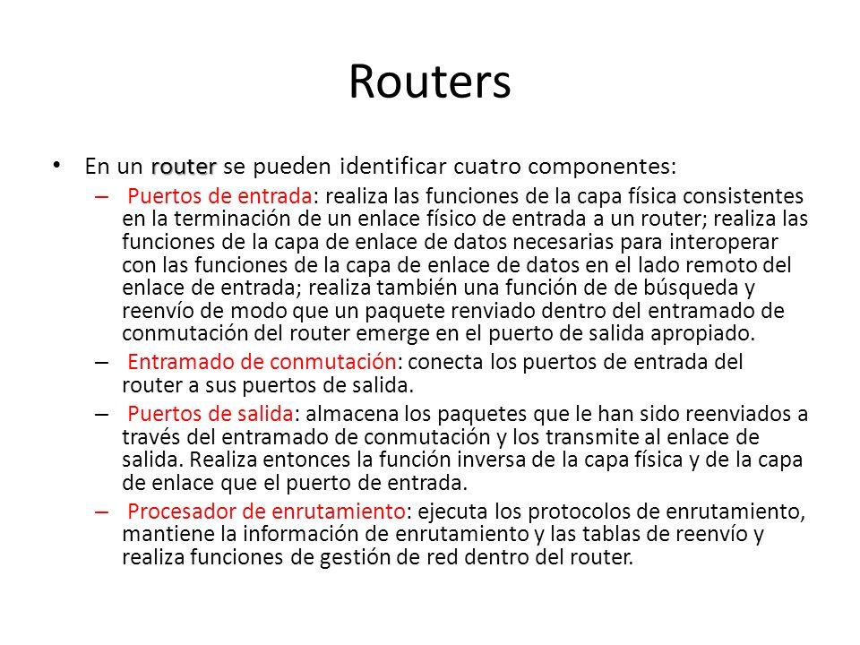 Routers En un router se pueden identificar cuatro componentes: