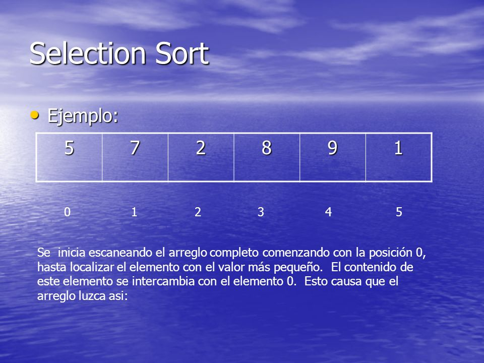 Selection Sort Ejemplo: 5 7 2 8 9 1 0 1 2 3 4 5