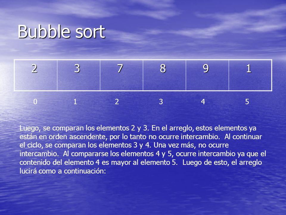 Bubble sort 2. 3. 7. 8. 9. 1. 0 1 2 3 4 5.
